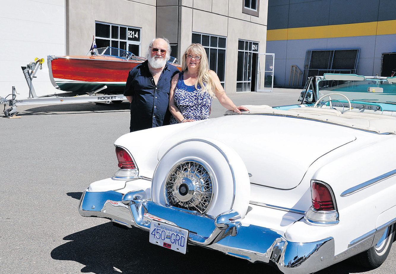 Sam and Patty Bronstein love their '55 Lincoln Capri convertible equipped with its continental kit.